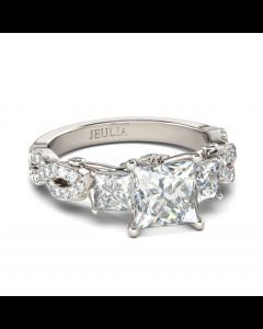 Three Stone Princess Cut Sterling Silver Ring