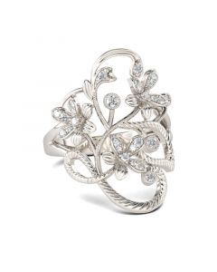 Jeulia  Floral Rope Round Cut Sterling Silver Ring