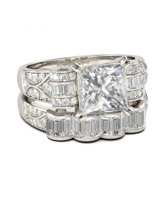 Jeulia  Art Deco Princess Cut Sterling Silver Ring Set