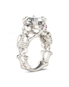 Skeleton Oval Cut Sterling Silver Skull Ring