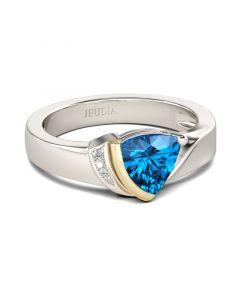 Asymmetric Trillion Cut Sterling Silver Ring