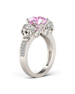 Two Skull Design Round Cut Sterling Silver Skull Ring