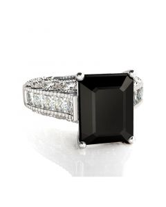 Big Center Stone Emerald Cut Sterling Silver Ring