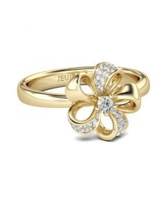 Jeulia  Gold Tone Flower Design Round Cut Sterling Silver Ring