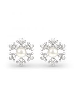 Snowflake Cultured Pearl Sterling Silver Earrings