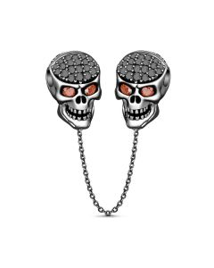 Two Skull Safety Chain Sterling Silver