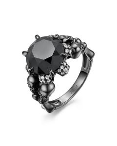 Black Round Cut Sterling Silver Skull Ring
