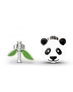 Cute Panda Bamboo Mismatched Earrings
