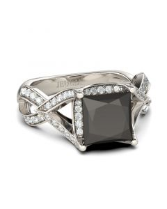 Twist Princess Cut Sterling Silver Ring