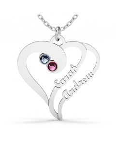 Double Heart Family Necklace With Birthstones Sterling Silver
