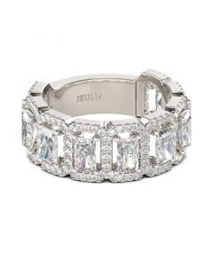Halo Radiant Cut Sterling Silver Women's Band