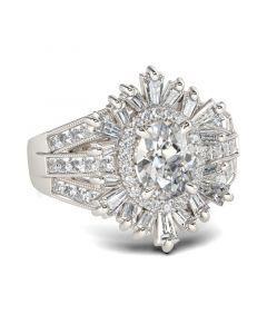 Split Shank Halo Oval Cut Sterling Silver Ring