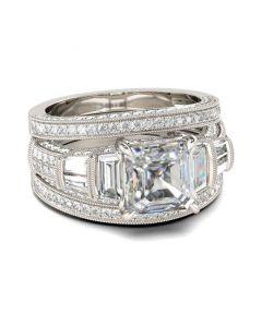 Milgrain Asscher Cut Sterling Silver Ring Set