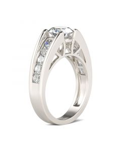 Cathedral Round Cut Sterling Silver Ring