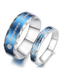 Unique Blue Stone Titanium Steel Couple Ring