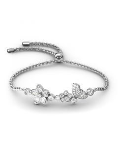 Flower and Butterfly Sterling Silver Bolo Bracelet