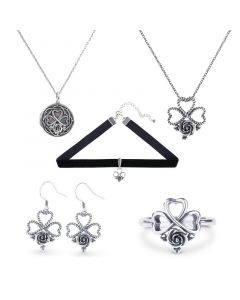 Jeulia Heart and Rose Sterling Silver Jewelry Set