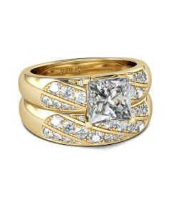 Diagonal Princess Cut Sterling Silver Ring Set