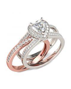 Halo Heart Cut Interchangeable Sterling Silver Ring Set