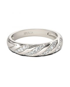 Twist Round Cut Sterling Silver Women's Band