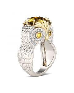 Feather Round Cut Sterling Silver Owl Ring