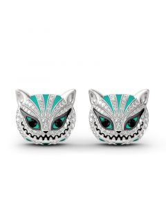 """""""Grinning Like a Cheshire Cat"""" Sterling Silver Enamel Earrings"""