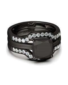 Black Tone Cushion Cut Sterling Silver Ring Set