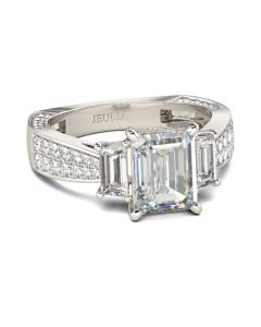 Three Stone Emerald Cut Sterling Silver Ring