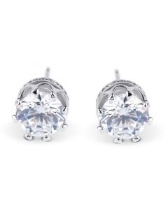 Classic Crown Sterling Silver Stud Earrings