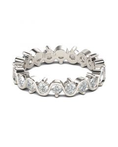 Eternity Round Cut Sterling Silver Women's Band