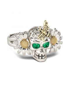 Daisy Bee Sterling Silver Skull Ring