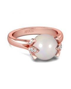 Rose Gold Tone Cultured Pearl Sterling Silver Ring