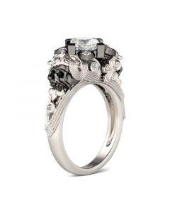 Flower & Heart Princess Cut Sterling Silver Skull Ring