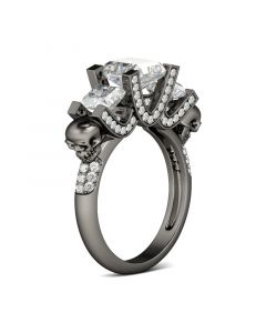 Jeulia Three Stone Princess Cut Sterling Silver Skull Ring