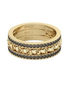 3PC Yellow Gold Tone Skull Ring