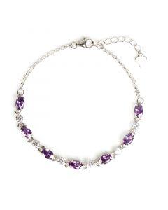 Classic Amethyst Purple Stone Sterling Silver Bracelet