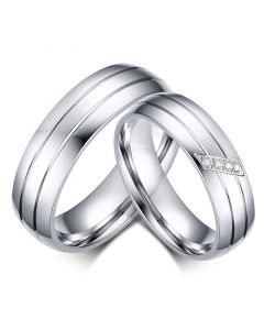 Simple Couple Rings Titanium Steel