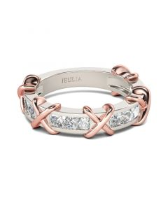 Knot Princess Cut Sterling Silver Women's Band