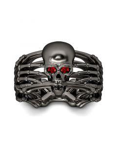 Skeleton Black Sterling Silver Skull Ring