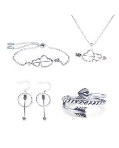 Cupid's Arrow Sterling Silver Jewelry Set