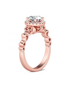 Rose Gold Tone Round Cut Sterling Silver Skull Ring