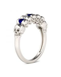 Double Face Round Cut Sterling Silver Skull Ring