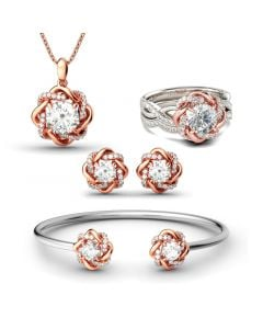 Twist Halo Round Cut Sterling Silver Jewelry Set