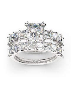 Princess Cut Sterling Silver Ring Set