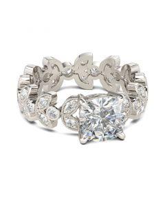 Milgrain Leaf Design Cushion Cut Sterling Silver Ring