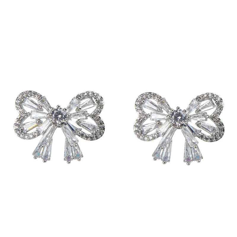 Bowknot Sterling Silver Stud Earrings, JEES0013